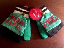MERRY ELFIN XMAS Festive Christmas Holiday Jingle Bell Pop Top Fingerless Gloves