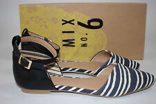 NIB MIX NO 6 Size 6 Women's White/Navy Stripe HELENA Black Ankle Strap Sandal
