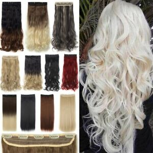 One Piece THICK Natural Clip in As Human Hair Extensions Full Head straight/wavy