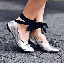 Zara Nuevo Cuero De Plata Con Cordones Zapatos Bailarinas Size UK 6 euro 39
