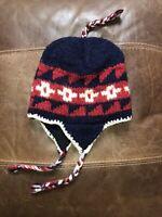 Bongo 100% Wool Nepal Hand Knit Ear Flap Hat Beanie Toboggan EUC Womens Mens