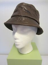 Vintage LORD & TAYLOR Made ITALY Shiny Distressed Leather Bucket Hat