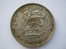 1927 George V silver Sixpence 1st reverse GVF