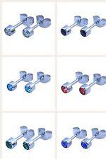 Crystal gem Surgical steel stud earrings (Standard Ear Piercing) Sold in Pairs