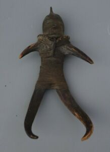 GOOD SMALL UNUSUAL INDONESIAN? AMULET FIGURE BRASS HEAD MADE FROM DEER ANTLER NR