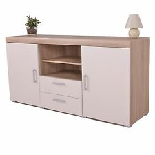 White & Sonoma Oak Large 2 Door 2 Drawer Sideboard Cupboard TV Cabinet Furniture