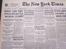 1933 NOV 10 NEW YORK TIMES - REBELS LOSE FORT IN HAVANA BATTLE 100 DEAD- NT 5267