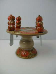 Tii Collections cheese plate w/ 4 spreaders   on the base pumpkins