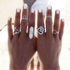 6 pcs SILVER BOHO ANTIQUE LUCK MOON WHITE Band Midi Mid Finger Ring Holiday