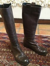 Alberto Fermani Knee High Boots Brown Leather Back Zip Low Heel Sz 37.5 (US 7.5)
