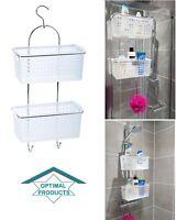 2 Tier Large Plastic Deep Basket Shower Caddy Storage Tidy Organiser With Hook
