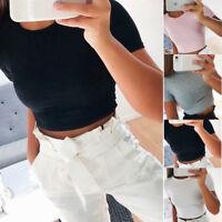 Summer Women Short Sleeve Casual T-Shirt Slim Gym Sports Crop Tops Blouse S-XL