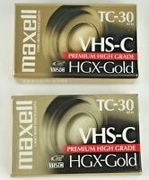 Maxwell VHS-C TC-30 HGX-Gold Premium High Grade Video Tapes Lot of 2 New Sealed