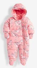 Next Pink Baby Girls Rainbow Unicorn Snowsuit Pramsuit & Mittens 9-12 Months BN