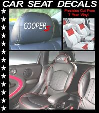 COOPER S MINI CAR SEAT DECALS / HEAD REST VINYL STICKERS/ GRAPHICS SET X 5 L@@k