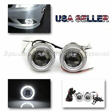 """RALLY STYLE 3"""" PROJECTOR WHITE LED ANGEL EYES FOG LIGHT FOR SUBIES H3 HID READY"""
