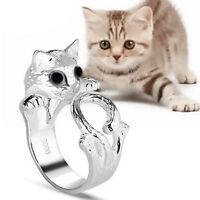 Cute Fashion Beauty Animal Kitten Cat Adjustable Ring Silver Kitty Crystal Gift