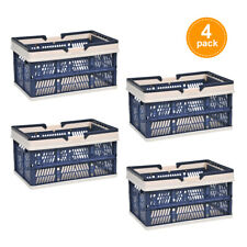 4Pcs Folding Baskets Containers Bins w/ Handle Home Kitchen Grocery Blue New
