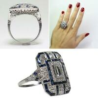 Noble Silver White Topaz & Blue Sapphire Wedding Ring Bridal Women Jewelry Favor