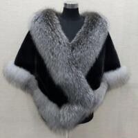 Womens outdoor faux mink fur coat fox fur collar cape wedding warm jacket one sz