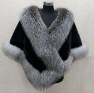 Womens outdoor mink fur coat fox fur collar cape wedding warm jacket free size