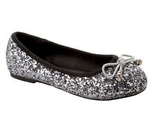 GIRLS SILVER GREY GLITTER BRIDESMAID FANCY PARTY DRESS PUMPS SHOES UK SIZE 10-2