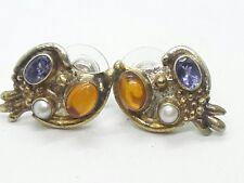 Vintage  Sterling Silver Pearl Amber Amethyst Gold Wash Earrings