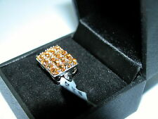 LOT 58 STUNNING CITRINE & ZIRCON SOLID STERLING SILVER RING SIZE J - RRP £128