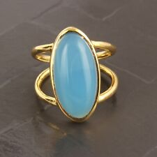 Superb Sky Blue Chalcedony Yellow Gold Plated Adjustable Band Ring For Girls