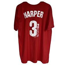 MLB Philadelphia Phillies 3 Bryce Harper TShirt Mens Size XL Red