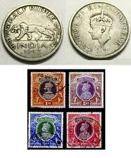 Lot 5pcs British India King George Old Antique 1/2 Rupee WW2 Coin + Stamps Set