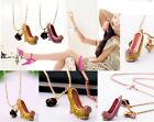 N466 Betsey Johnson Pink / Gold Mini Crystal High Heel Couture Style Necklace US