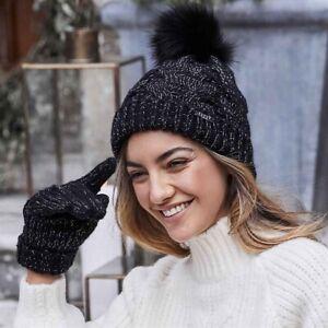 NEW Lipsy Black Beanie Pom Hat&Gloves. Christmas Gift. Shimmer/Glitter Detail.