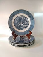 "Vintage CURRIER & IVES 10"" DINNER PLATE Lot of 6  ""The Grist Mill"" Blue"