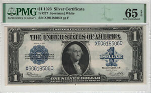 1923 $1 SILVER CERTIFICATE NOTE FR.237 SPEELMAN WHITE PMG GEM UNC 65 EPQ (506D)