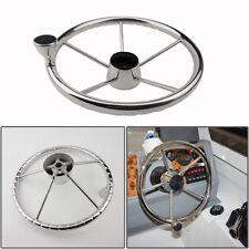 13-1/2'' Boat Steering Wheel 5 Spoke & Knob Mirror Stainless Steel 304