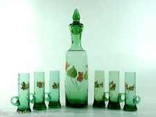 Spät- BIEDERMEIER Glas Karaffe + 6 Gläser ° Schlesien oder Nordböhmen
