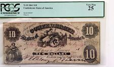 T-10 1861 Confederate States of America $10 Note Pcgs Very Fine 25 Pf-15