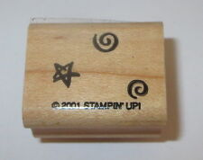 Swirls Star Rubber Stamp Background Stampin' Up! Wood Mounted Celestial Sky