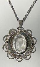 Vintage Glass Intaglio Cameo Filigree Frame Necklace