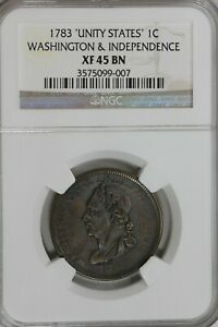 1783 .01 NGC XF45BN 'UNITED STATES': WASHINGTON AND INDEPENDENCE 1700 COLONIAL