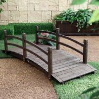 "Espresso Brown Finish Wood 72"" Garden Bridge Outdoor Yard Lawn Landscaping Decor"