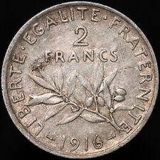 More details for 1916   france 2 francs   silver   coins   km coins