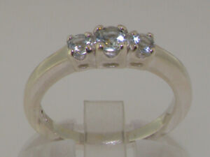 14ct White Gold Natural Aquamarine Womens Trilogy Ring - Sizes J to Z