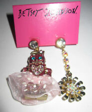BETSEY JOHNSON PINK ROBOT GIRL MIS MATCHED EARRINGS