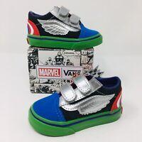*NEW* Vans Authentic Old Skool V (Toddler Size 4C) Marvel Avengers Sneakers