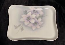ZSC ZS & Co Scherzer Bavaria porcelain tray 8X10 blue w/ white dogwood flowers