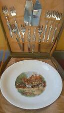 Servizio posate + piatto da dolce in box originale vintage germany set inox
