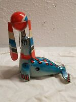 VINTAGE CHINA TOY SEAL PLAYING A BALL WIND-UP TIN LITHO CHINA 1980's WITH BOX