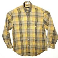 Nautica Mens Large Tan Yellow Checkered Plaid Long Sleeve Button Up Dress Shirt